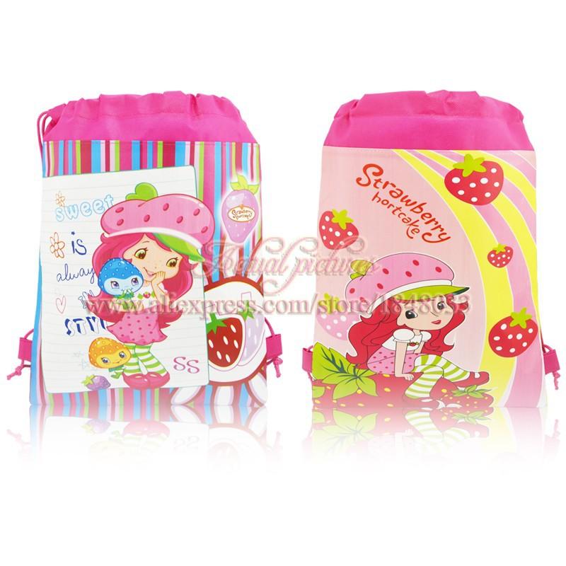 New Arrival,35*27cm,4pcs Strawberry Shortcake Cartoon Drawstring Backpack Bag,Children Kids Bag ,schoobag,baby party gift(China (Mainland))