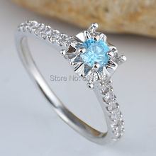 Women Green Emerald Red Ruby Blue Topaz Simulated Diamond Pure Finger 925 Sterling Silver Ring WEDN