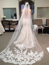 Wedding Accessories 2015 Appliques Tulle Long Cathedral Wedding Veil Lace Edge Bridal Veil with Comb veu de noiva longo(China (Mainland))