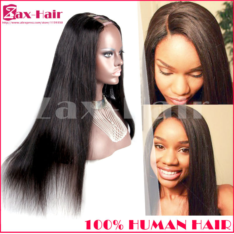 New style u part wigs for black women u part wig human hair straight virgin unprocessed remy brazilian human hair on sale stock(China (Mainland))