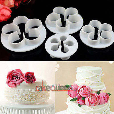 4pcs Set Rose Flower Cake Decorating Tools Cupcake Kitchen Fondant Kitchen Accessories Cakemold