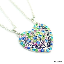 The Love Between Mother And Daughter Rhinestone Necklace Two Splicing Half-hearts Pendant Necklace(China (Mainland))