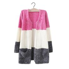 2015 Autumn and  Winter new Korean Women tricolor stripes stitching loose long knit cardigan sweater female 2930(China (Mainland))