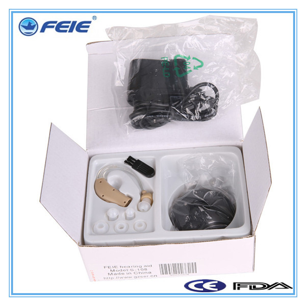 Free shipping amplifier mini ear rechargable ear hearing aid S-108(China (Mainland))