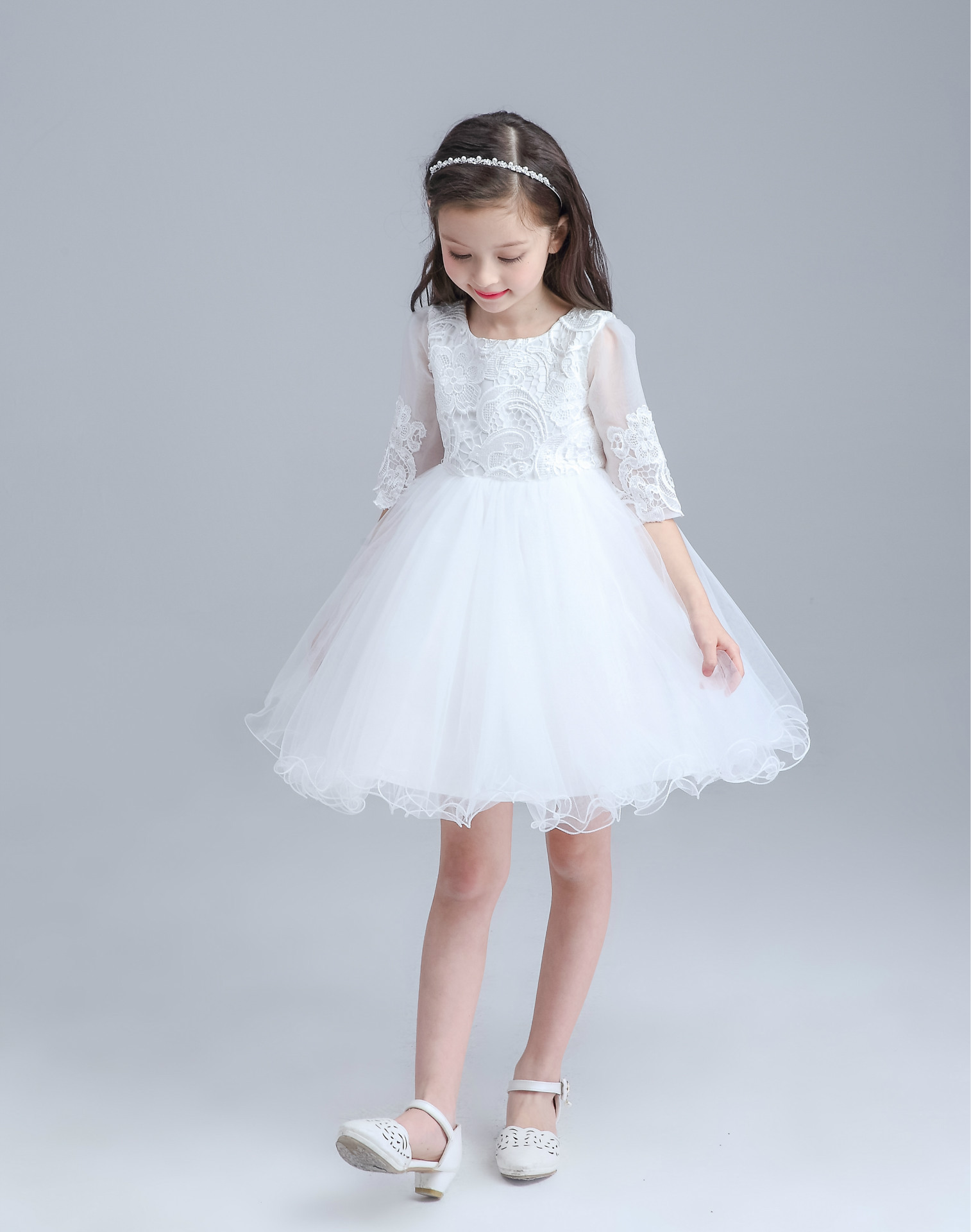 2016 Girls Summer Dress Kids Girls White Wedding Birthday Costume ...
