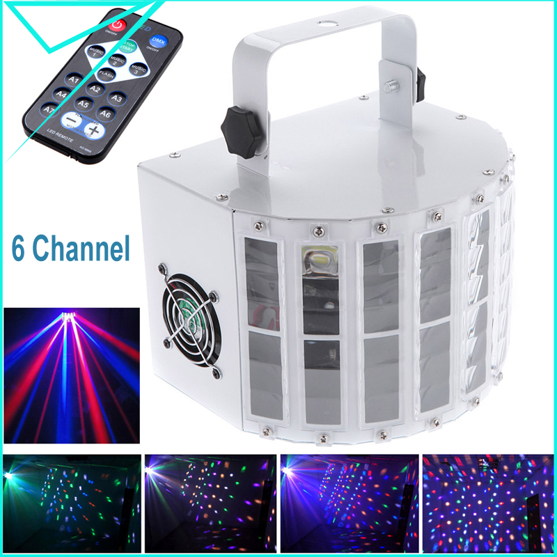 EU/US 24W RGBW LED 6 Channel Dmx 512 Voice-activated Automatic Control LED Projector DJ Home KTV Disco Stage Lighting Lights(China (Mainland))
