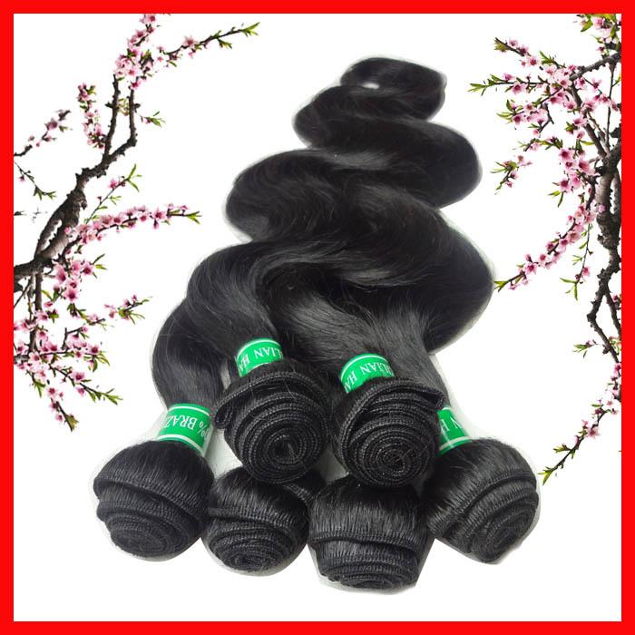 Brazilian Body Wave Hair 6 pcs lot Virgin Brazilian Hair Weave Bundles 100% Human Hair Extensions Free Shipping(China (Mainland))
