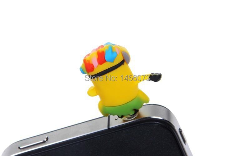 10PCS cartoon anime minion despicable me 2 headset anti dust plug charm earphone jack cell phone accessories 3.5mm General