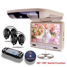 9″Car Flip Down Roof Mounted DVD Player USD/SD Game IR/FM + 2pc IR headphones headup display Overhead Ceiling DVD Media Player