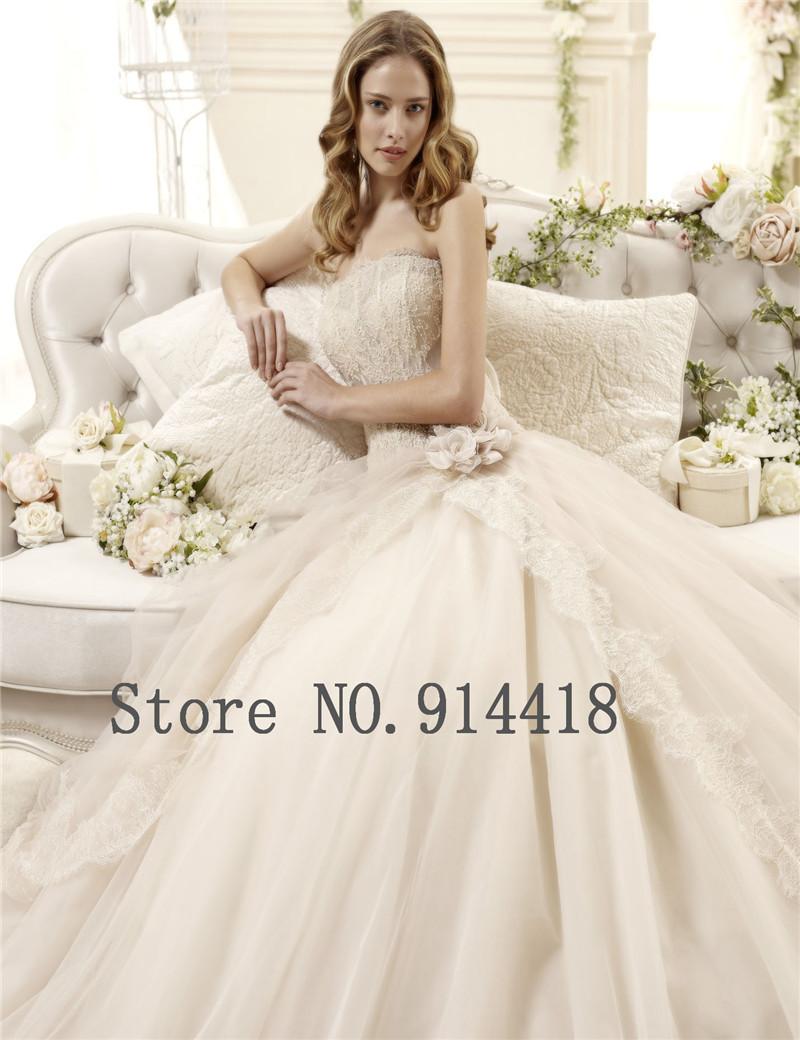 Hot sale handmade flowers strapless vintage wedding dress for Vintage wedding dresses online shop