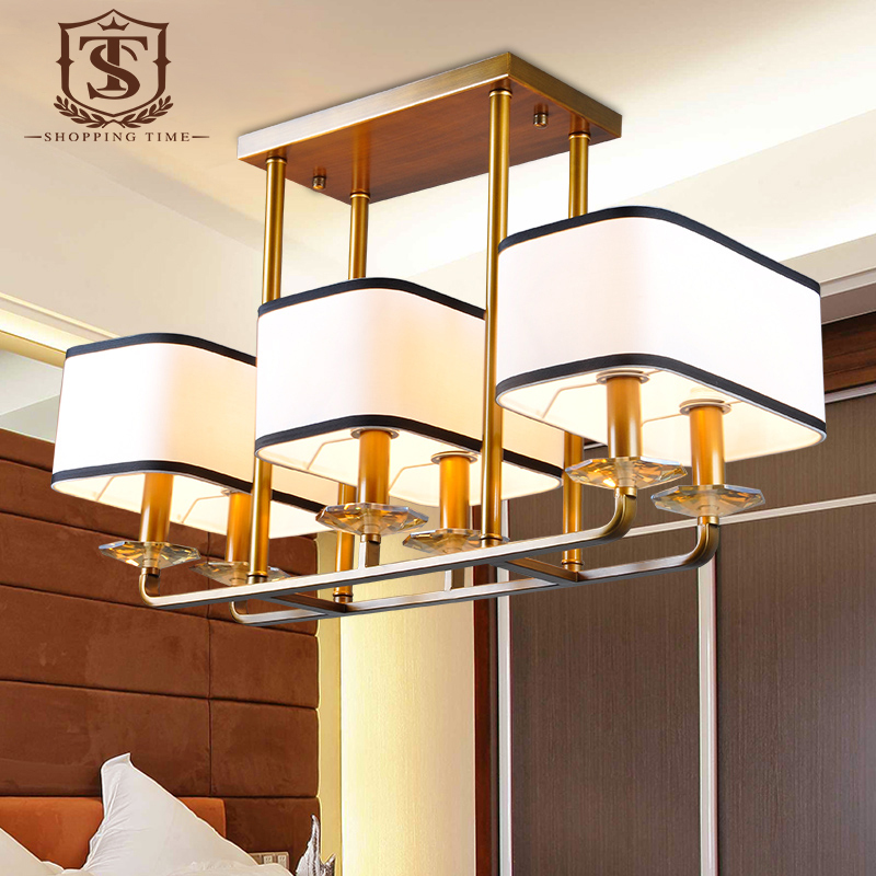 New 6 Lights Iron Chandelier Dining Room Fabric Shade Hanging Lighting With C