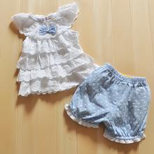Baby Girl Cake layers of lace sleeveless tops shorts suits Blue Polka Dot Polka Dot Cake