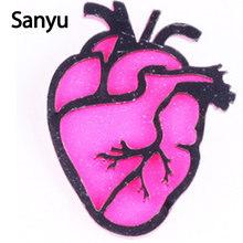 2018 Baru Kedatangan Akrilik Hati Bros Pin 4 Gaya Fashion Baru Lucu Bros Pin untuk Wanita Gadis Hot Pink Merah putih Broochs(China)