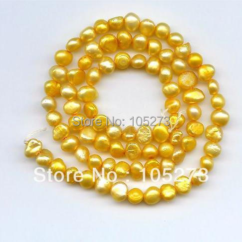 New Free Shipping Natural Pearl Jewelry Yellow Color Genuine Freshwater Pearl Loose Beads 5-6mm 15/String Fashion Jewelry<br><br>Aliexpress