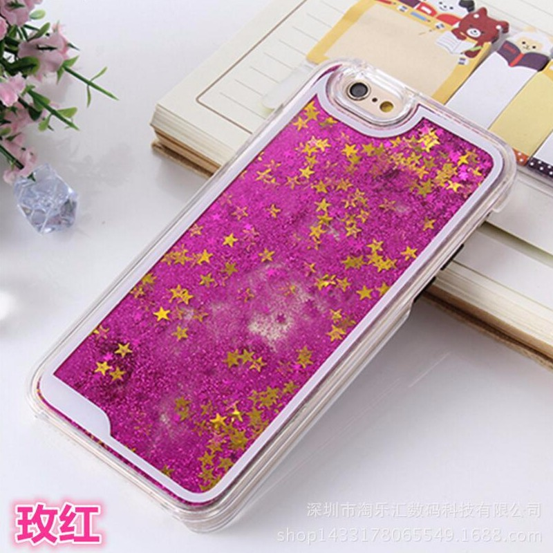 New! Glitter Stars Dynamic Liquid Quicksand Hard Case Cover for iPhone 6 6 s Transparent Clear phone case Free Shipping