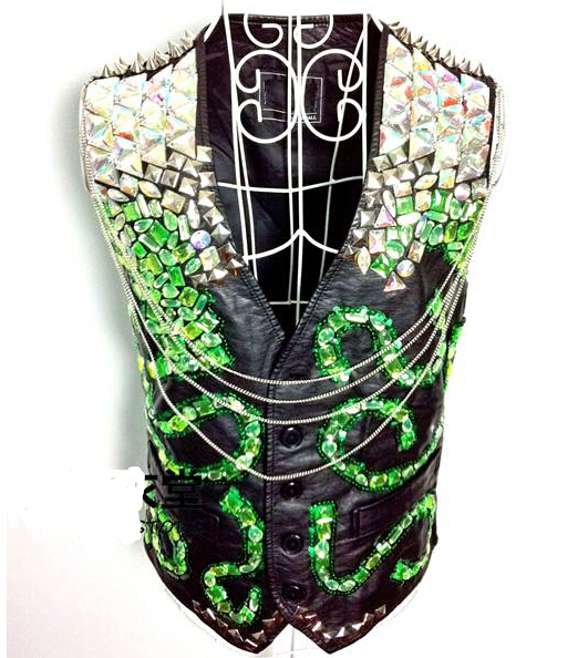 2014 new fashion male costume Limited edition male ds electrooptical neon green gem motorcycle leather vest  free shippingОдежда и ак�е��уары<br><br><br>Aliexpress