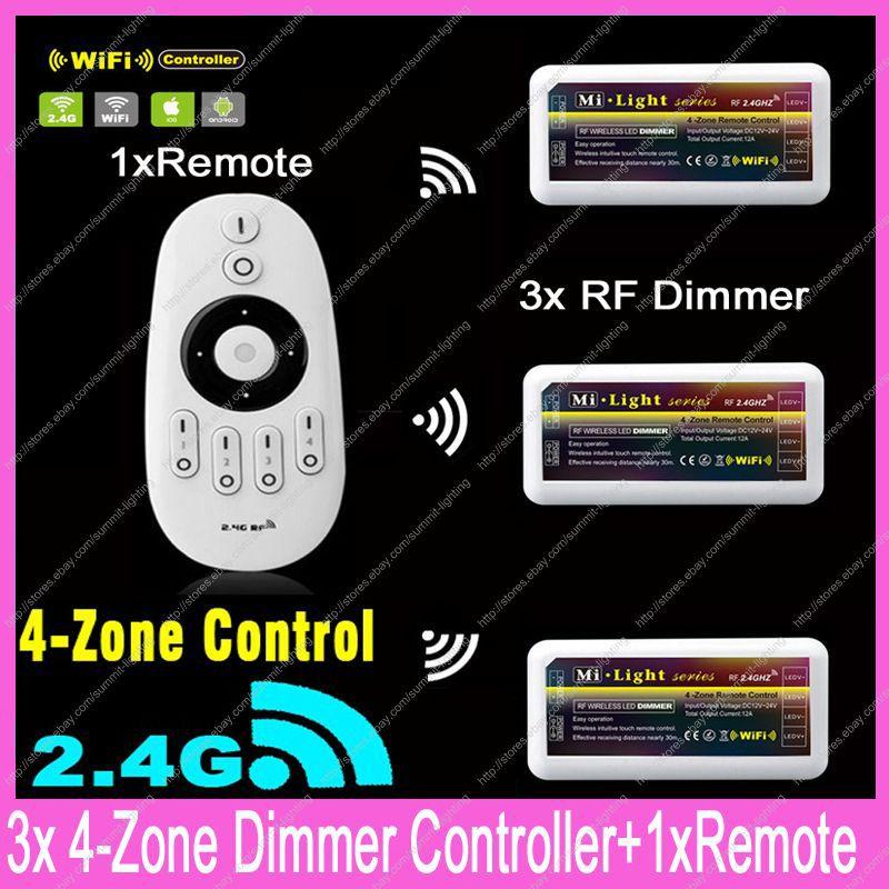 Здесь можно купить  1x 2.4G RF Wireless 4-Zone Touch Remote +3x DC12-24V 12A Mi.light RF Brightness Adjustable Dimmer Controller Set WiFi Compatible  Свет и освещение