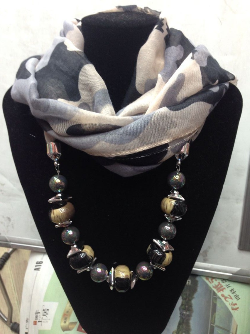 SF1510604,1pc/lot,Tianluse, 2015 Spring Tan+Black+Grey Printing Lepoard Fabric Matching Beads Scarves For Women, Free Shipping(China (Mainland))