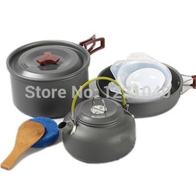 Hiking camping pot picnic 2 - 3 teapot combination cookware outdoor cooking tableware jogo de talheres cooking pots and pans set(China (Mainland))