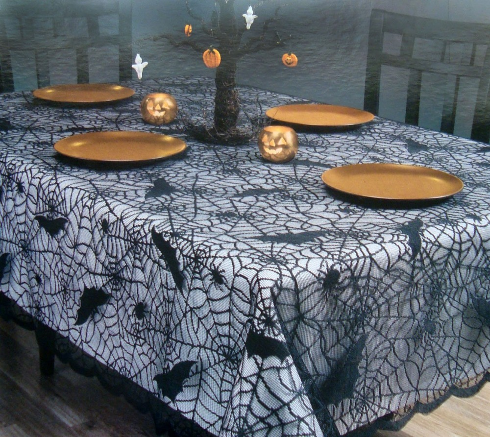 free shipping Halloween black lace table cloths with bat and spider web tablecloths halloween holiday festival dia 70 inch round(China (Mainland))
