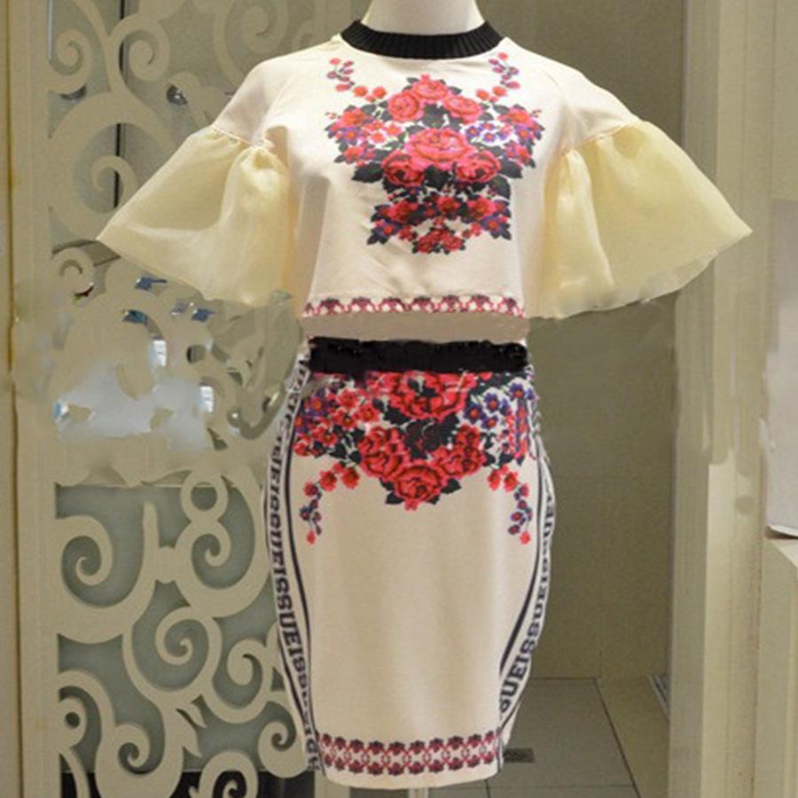 Summer Floral Print Crop Top 2 Piece Dress Vintage Pattern Chiffon Puff Sleeve Pencil Bandage Vestido Set Clubwear Party Apparel(China (Mainland))