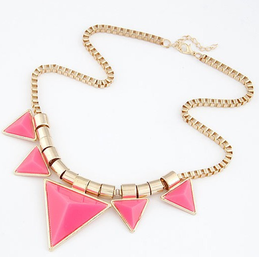 2015 Fashion Bohemia Style Womens Unique Jewelry Gold Metal Triangle Gems Bib Necklace & Pendants Chain Fast Shipping(China (Mainland))