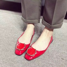 Buy 2017 New Square Toe Black Red Patent Leather Flat Shoes Diamond Metal Buckle Red Casual Slip Shoes for $29.40 in AliExpress store