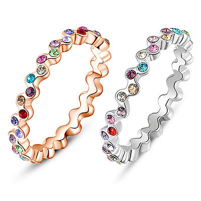 Women's Elegant Colorful Rhinestone Crystal 9K Gold Plated Ring Jewelry Gift(China (Mainland))