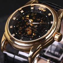 Winner Royal Diamond Design Black Gold Watch Mens Watches Top Brand Luxury Relogio Male Skeleton Mechanical Watch Montre Homme