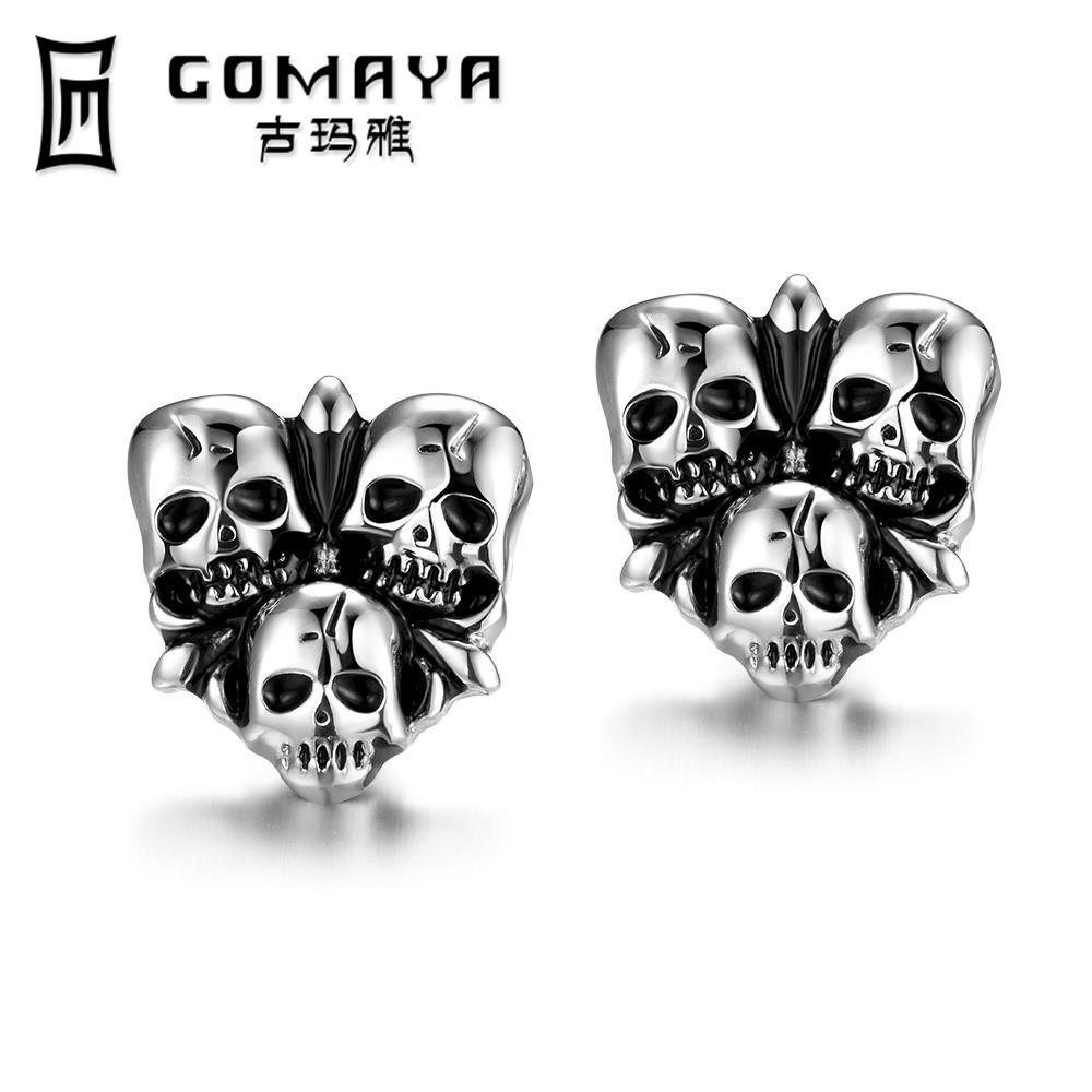 New Coming Gothic Vintage Punk Style Stud Earrings Delicate Hollow Out Black Guns Plated Color Earrings For Man Gifts(China (Mainland))