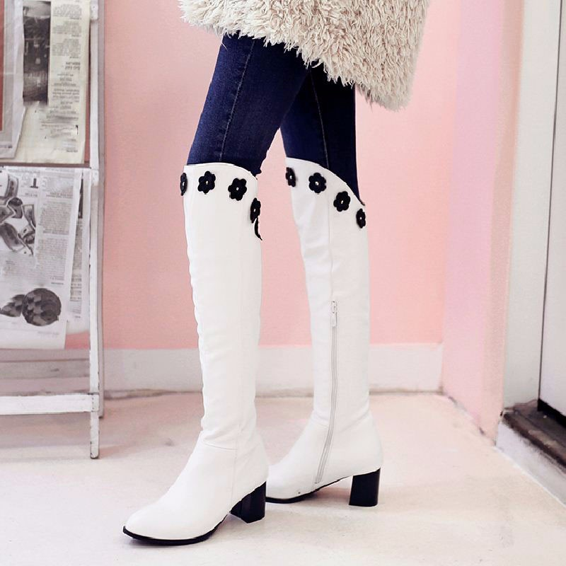 2016 Big Size 34-46 Sweet Flowers Add Fur Women's Autumn Winter Boots Vintage Thick Heels 2016 Fashion Knee Boots Shoes Woman