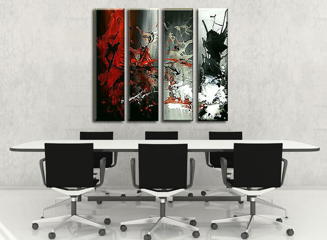 hand-painted Huge Wall Art Red Black Abstract Oil painting Canvas Painting canvas 4pcs/set - Fraz & YX Studio store
