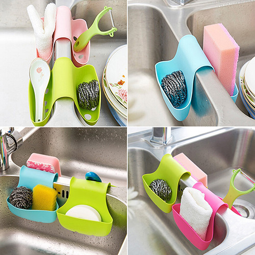 Hot Selling Double Sink Caddy Sponge Holder Saddle Style Strainer Organizer Storage Rack