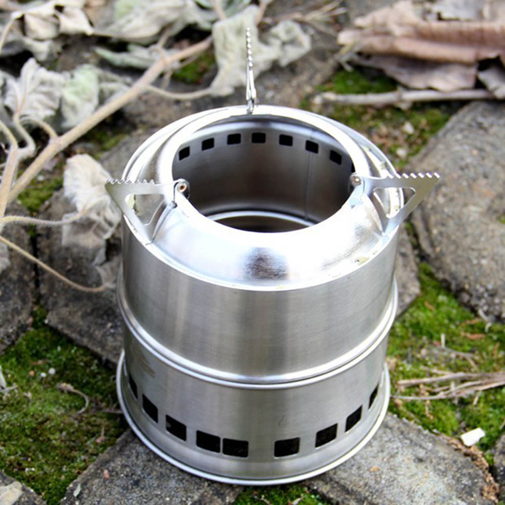 Useful Outdoor Cooking Picnic BBQ Camping Stove Portable Stainless Steel Lightweight Wood Stove Solidified Alcohol Stove(China (Mainland))