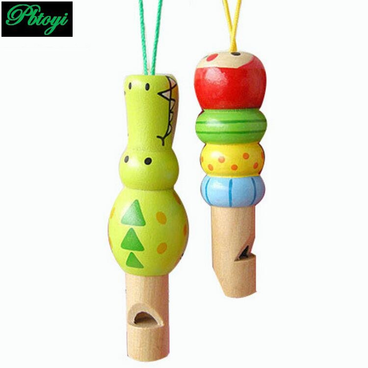 Wholesale cartoon mini animals whistle survival whistle wooden toys fish crocodiles learning education musical instrument PG0604(China (Mainland))