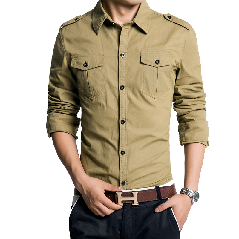 Formal male shirts military style men 39 s long sleeved shirt for Mens military style long sleeve shirts