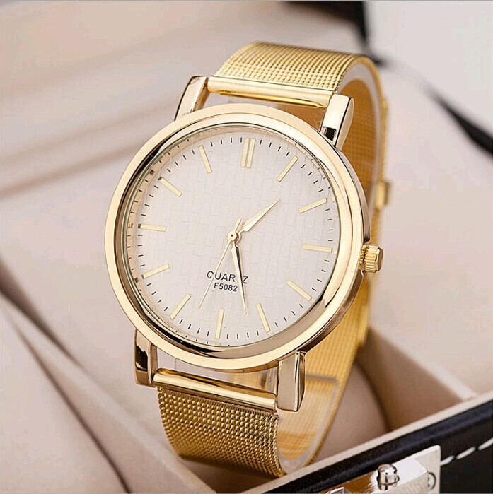 Women Golden Plated Metal Mesh Band Round Dial Watch Marble Mirror Quartz Analog Wrist Watch High Quality Women Dress Watches(China (Mainland))