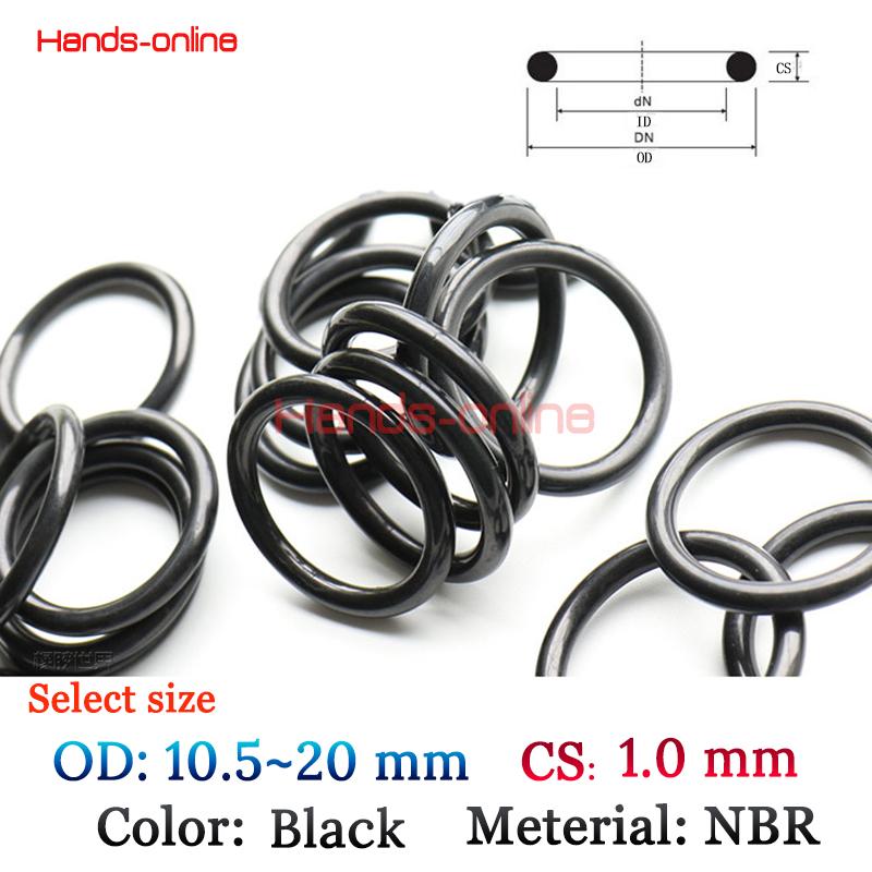 10pcs/lot NBR Orings OD 10.5/11/12/13/14/15/16/17/18/19/20mm 1mm W O Ring O-rings Oring 10.5~20mm X 1mm OD x CS