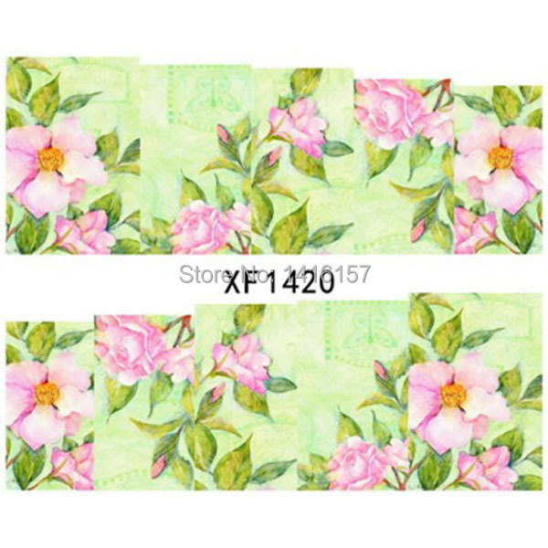 Water Transfer Nail Art Stickers Decal Elegant Pink Flowers China Painting Design Manicure Tool(China (Mainland))