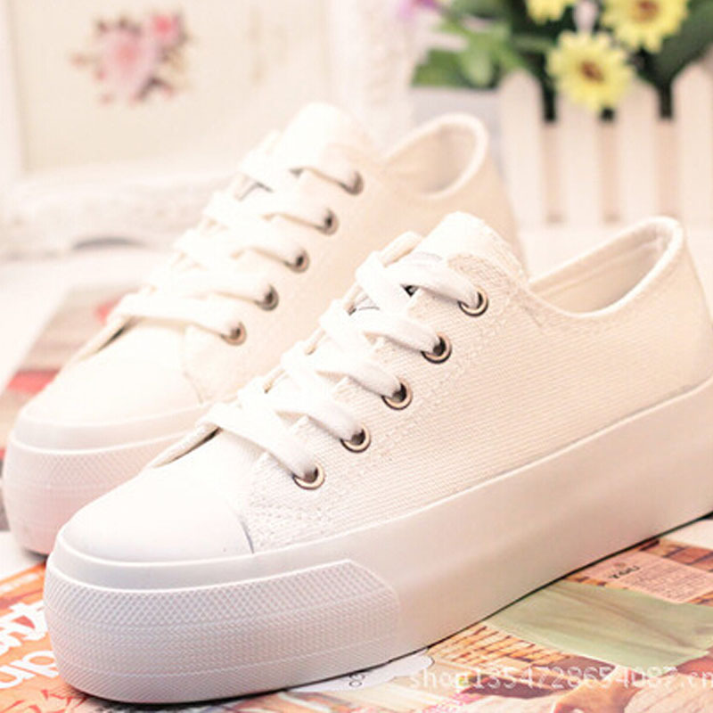 Breathable casual canvas shoes woman Black white platform sneakers women - SunyShining store