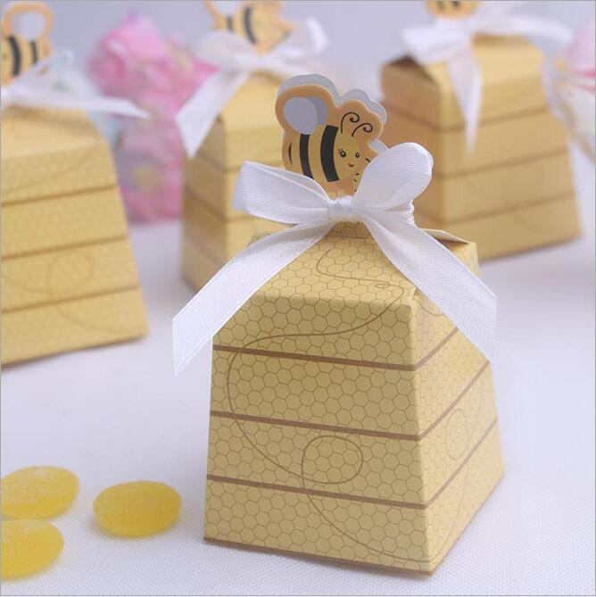 100PCS Yellow Honey Bee wedding baby shower birthday party Favor gift box candy boxes favors(China (Mainland))