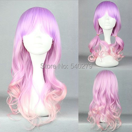 Pastel Pink Purple Multi-Color Lolita Anime Wig 55cm Long Curly Ombre Synthetic Hair Costume Cosplay Wigs - HD online Store store