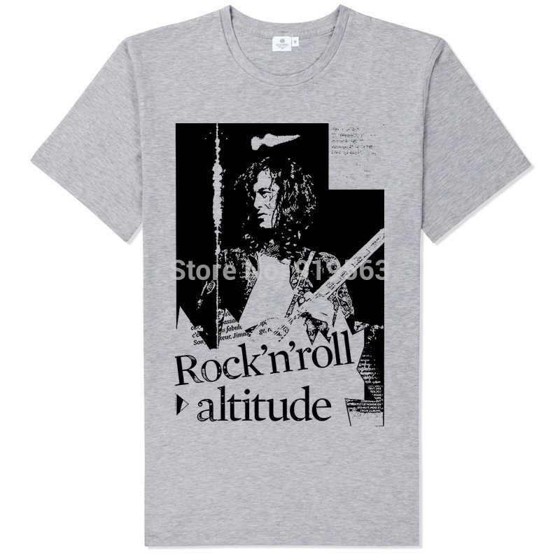 jimmy page guitar art old black & white silk printing tee shirt Led Zeppelin rock n roll attitude(China (Mainland))