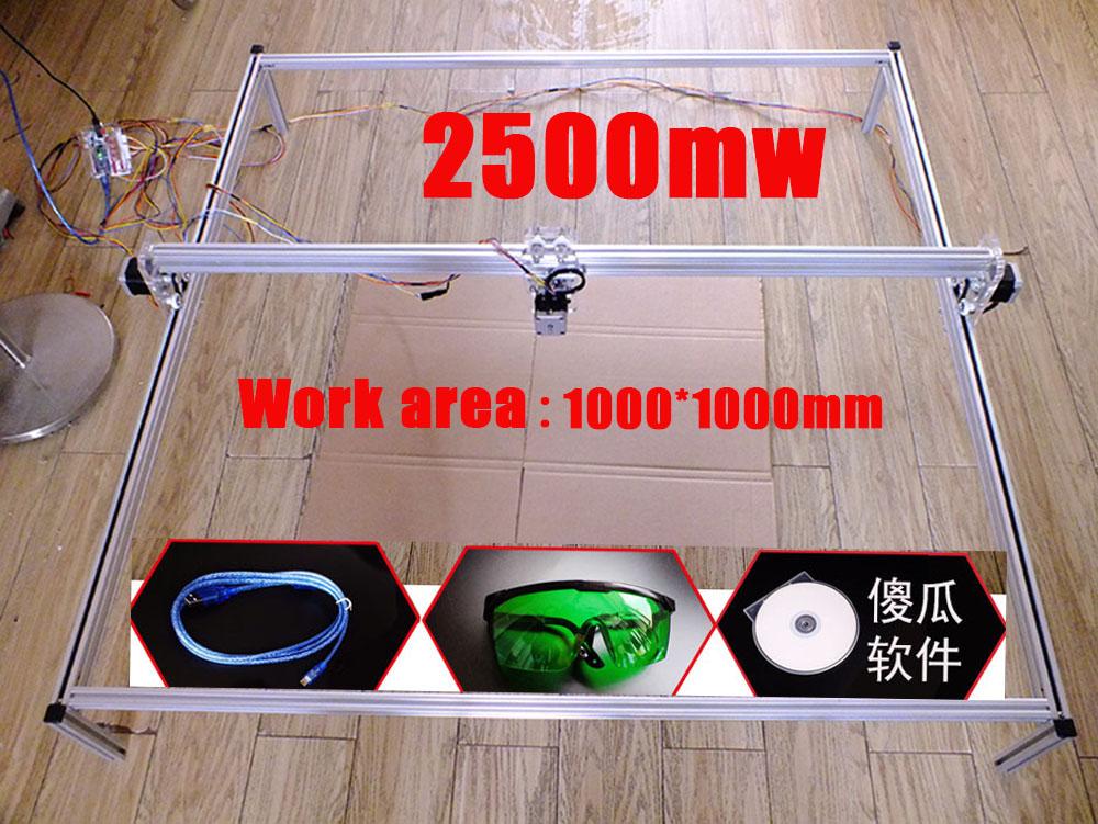 2500mw DIY mini laser engraving machine 2500mw desktop laser engraver work area 1000*1000mm 2500mw laser engraving machine(China (Mainland))