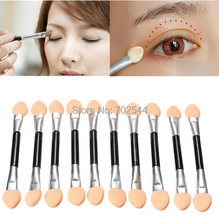 Wholesale Disposable Make Up Eye Shadow Applicator Brush double-headed sponge eye shadow brush (1000 pcs/lot) + Free shipping(China (Mainland))