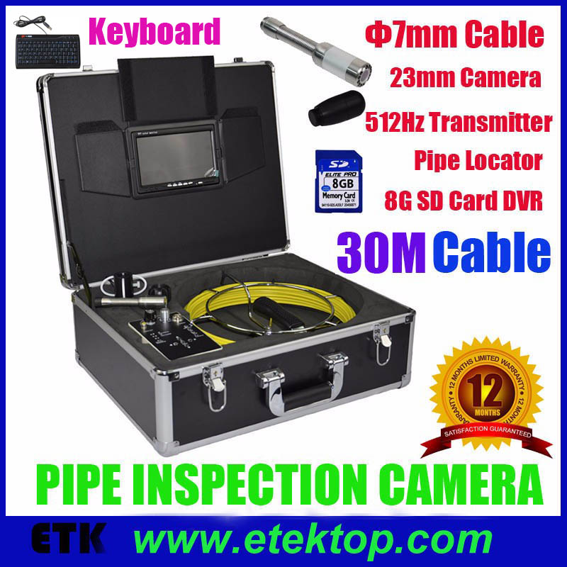 Pipe Drain Wall Inspection Color Camera System With 30M Cable Pipe Locator 512hz transmitter Keyboard Typing DVR Snake Camera(China (Mainland))