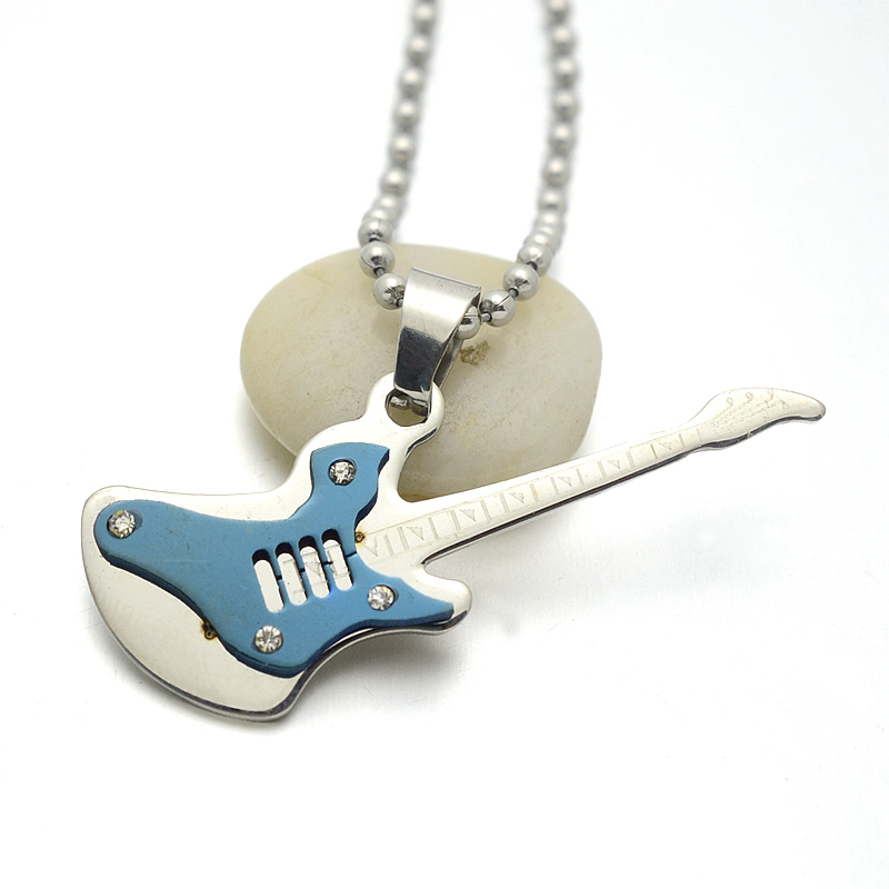 Wholesale LOT Golden Blue Crystals Stainless Steel Guitar Pendant Necklace 50CM Free Chain(China (Mainland))