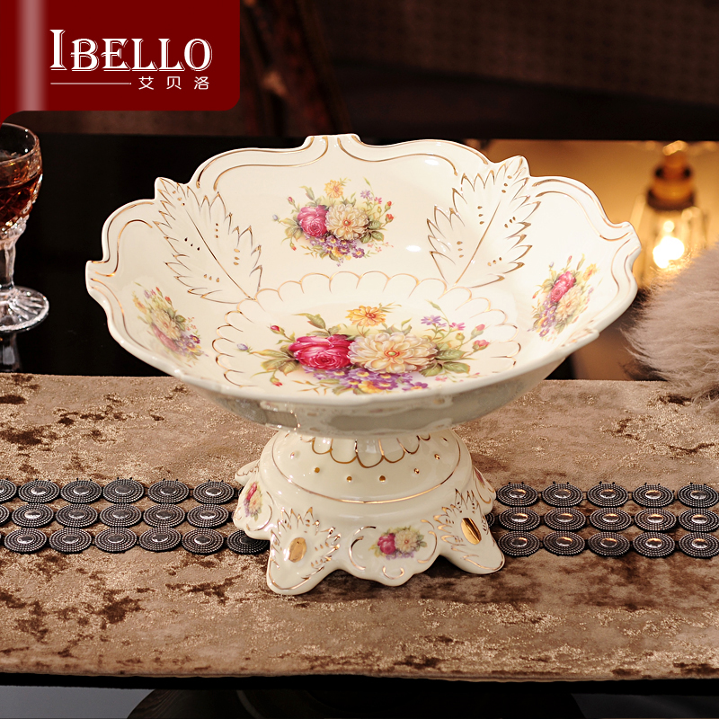 New Arrival Porcelain Fruit Plate Tea Table Decoration Dishes Ceramic Plate Wedding Gifts High Quality Fruit Bowl(China (Mainland))