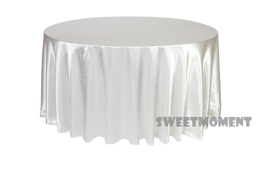 White Satin/Polyester Table Cloth For Wedding Hot Sale Tablecloth 108'' Round(China (Mainland))