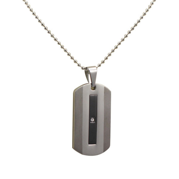 Hot design fashion stainless steel black plating crystal diamond pendant necklace men jewelry 2pc set shiny polish Free shipping(China (Mainland))